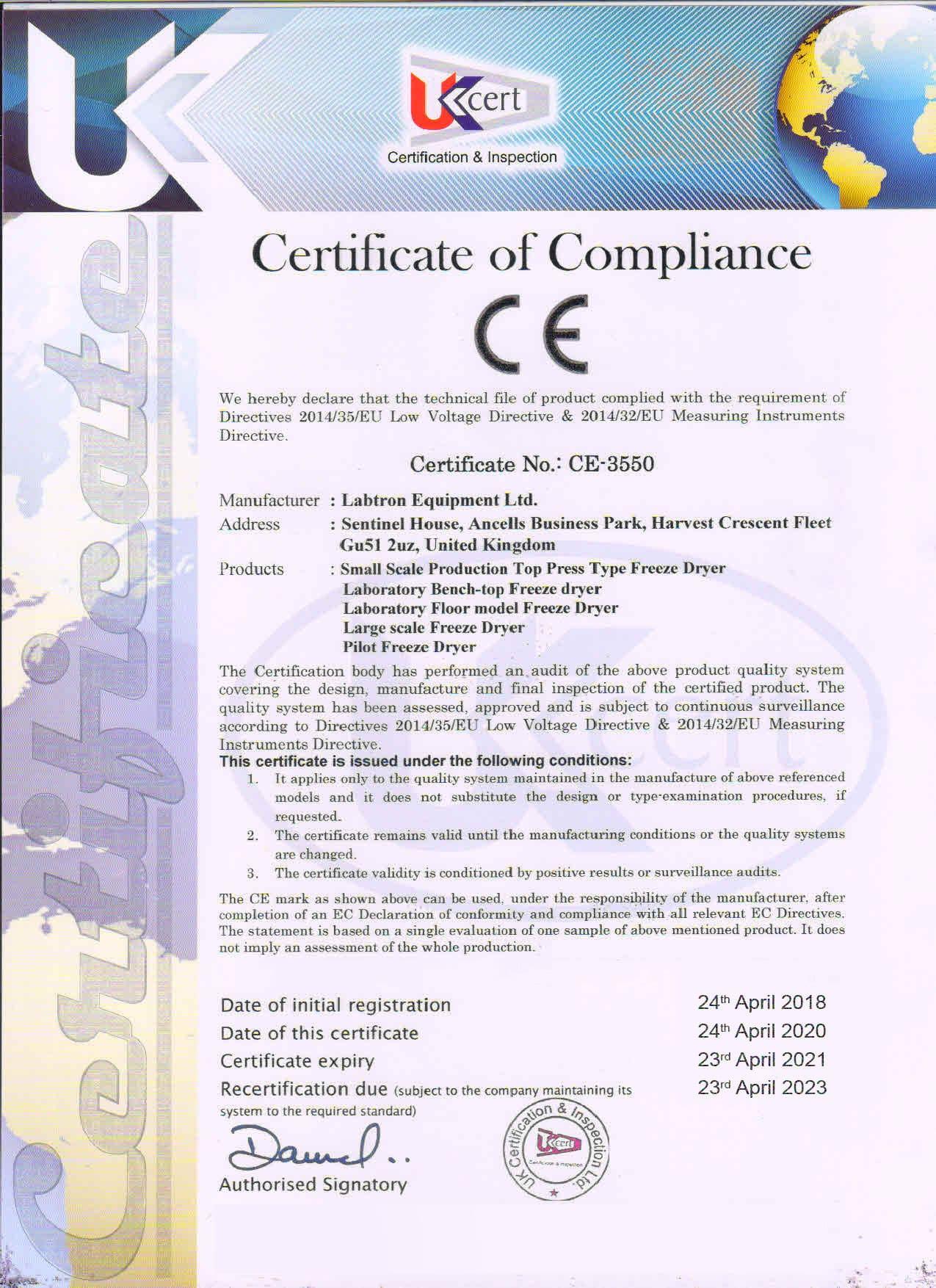 Labtron Equipment Ltd. Certificate of Compliance CE-3550 : Labtron Certification